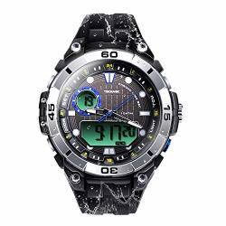 Tekmagic 10ATM 100M Outdoor Waterproof Sports Watch For Swimming With Back Light Stopwatch Chronograph Function Support Dual Time Zone W17-Y