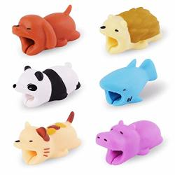 Diruite 6-PACK For Cable Bite Cute Animal Cable Protects Saver Compatible For Iphone Cable Bite Cord Data Line Protector Cell Ph