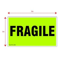 """Kenco 3"""" X 5"""" Fragile Fluorescent Green Shipping Label Stickers For Shipping And Packing - 500 Adhesive Labels Per Roll"""