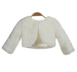 EkidsBridal Ivory Faux Fur Capes Flower Girl Bolero Cozy Fur Jacket Princess Cape Dress Cover Up Flower Girl Shrug