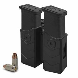 Hqda Universal Double Magazine Holster Mags Pouch Fits Glock 17 19 22 9MM .40 Cal Dual Stack Mag Holder Duty Belt Owb Handgun Ca