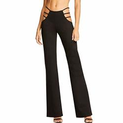 Gocheaper Women High Elasticity High Waist Cutout Solid Strappy Casual Bell-bottomed Pants Black L