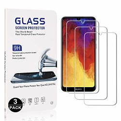 Bear Village Huawei Y6 2019 Tempered Glass Screen Protector Anti Scratches 9H Hardness Screen Protector Film For Huawei Y6 2019 3 Pack