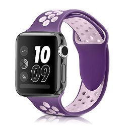 BAND4U Apple Watch Band 38MM Soft Silicone Strap Replacement Wristbands For Apple Watch Sport Series 3 Series 2 Series 1 Nike+ Sports And Edition