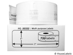 """HouseLabels 6 Rolls 750 Labels Per Roll Of Dymo-compatible 30332 Multipurpose Labels 1"""" X 1"""" -- Bpa Free"""