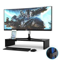 1home Wood Monitor Stand Tv Pc Laptop Computer Screen Riser Desk