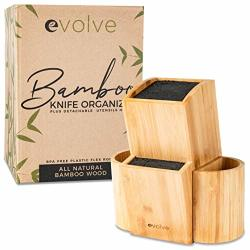 Evolve Bamboo Knife Block - Universal Kitchen Knife Holder - Safe & Space Saver Knife Storage That Covers Knife Blades Up To 10