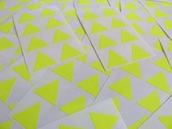 """25MM 1"""" Triangle Shape Color Code Stickers - Packs Of 96 Large Colored Triangular Sticky Labels - 32 Colors Available ... Fluorescent Bright Yellow"""