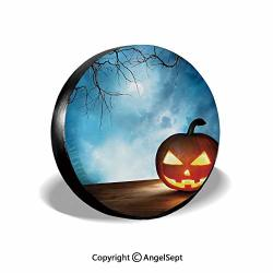 SPARE Tire Cover Traditional Celebration Icon Pumpkin On Wooden Board Fantasy Midnight Sky Trees Multicolor For Jeep Trailer Suv