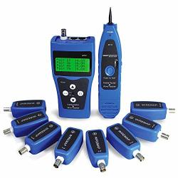 Kolsol Network Tester AT112 Network Ethernet Lan Phone Wire Tester USB Coaxial Cable With 8 Far-end Jacks Bnc RJ45 RJ11 Line Finder Remote Cable Tracker NF-388