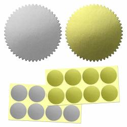 """400 Pack 2"""" Certificate Wafer Embossing Award Seals Stickers Labels - Silver gold"""