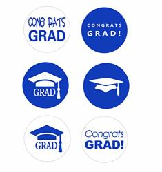 Wootile Graduation Party Round Candy Sticker Favors - Labels Fits Hershey's Kisses - Chocolate Drop Label Stickers 3 4 Inch Diameter Set Of 432 Blue