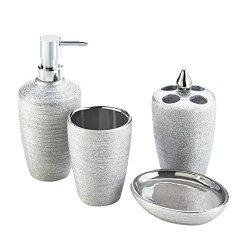4 Piece Silver Shimmer Bath Accessory Set