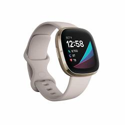 Fitbit Sense Advanced Smartwatch With Tools For Heart Health Stress Management & Skin Temperature Trends White gold One Size S & L Bands Included