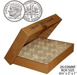 Merrick Mint Dime Direct-fit Airtight 18MM Coin Capsule Holders For Dimes Qty: 25