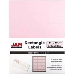 """JAM Paper & Envelope Jam Paper Mailing Address Labels - Small - 1"""" X 2 5 8"""" - Baby Pink - 30 Labels Per PAGE 120 Labels Total"""