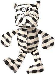 "Petrageous Designs Pet Rageous Checkrageous Pipa The Rhino Dog Toy 13.5"" Black cream"