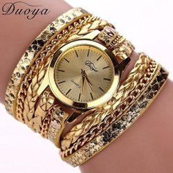 Binmer Tm Women Leather Band Wrap Around Analog Quartz Bracelet Wrist Watch Wristwatch Gold