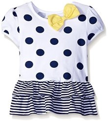 Gerber Graduates Children's Apparel Gerber Graduates Girls Short Sleeve Drop Waist Top With Hemmed Double Ruffle Navy Polka Dot