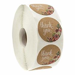 Roysberry Label Sticker - Round 1 Inch Natural Kraft Baked With Love Stickers 500 Labels Per Roll Hand-made Homemade Love Sticker Line Writing