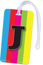 INITIAL Luggage Tag Letter J Personalized Id Tag Colorful Tv Test Pattern Design J