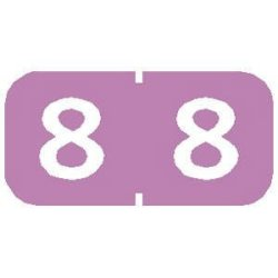 """TABBIES 1 2"""" H X 1"""" W Lilac Tab Products Compatible 1 2"""" Numeric Label ' 8' 500 Labels roll - TBBS-71208"""