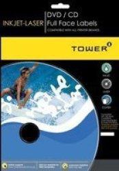W250 Inkjet-laser Dvd cd Full Face Labels 25 SHEETS117MM