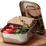 Stainless Steel Bento Box For Kids + Adults With Bonus Spoon Large Metal Lunch Box For Men + Women Eco Friendly 3 Section Lunch