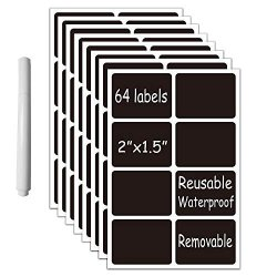 """Chalkboard Vinyl Labels- 64 Premium Reusable Chalk Stickers-removable Waterproof Blackboard Label For Mason Jars Parties Craft Rooms Weddings Rectangular 2""""X1.5"""" With A White Chalk Marker"""