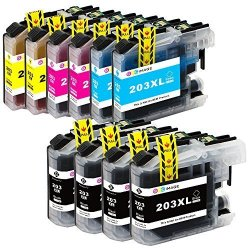 GPC Image Compatible Ink Cartridge Brother LC203XL LC203 XL Lc 203XL Replace For Brother MFC-J480DW MFC-J485DW MFC-J680DW MFC-J880DW MFC-J4620DW MFCJ5720DW 10 Pack 4 Black