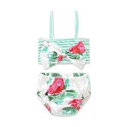 e64e269c796dd Hemlock Girl's Bikinis Little Girls Swimsuit Tankini Swimming Vest Infant  Kids Bathing Suits 2 Years Green