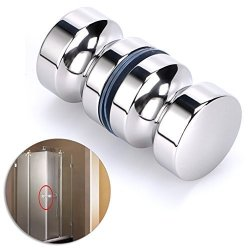 "Sumnacon Stainless Steel Shower Glass Door Knobs Modern Elegant Bathroom Round Back-to-back Shower Door Handle Pull Knobs For 0.16"" To 0.63"" Doors Exterior Interior"