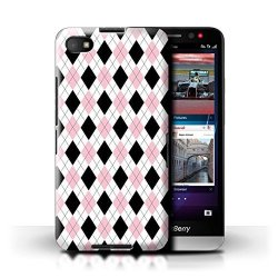 STUFF4 Phone Case Cover For Blackberry Z30 Pink Argyle Design Winter Fashion Collection