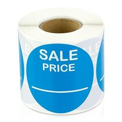 """Price 2"""" Round Pricing Retail Store Stickers tags Labels Stickers Light Blue 300 Labels Per Roll 1 Roll"""