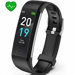 Fitness Tracker Akasma Hr S5 Activity Tracker Watch With Heart Rate Monitor Pedometer IP68 Waterproof Sleep Monitor Step Counter For Women Men Black