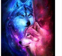 "LSH5D Christmas Gift Diy 5D Diamond Painting""love Wolf"" Animal Embroidery Cross Stitch Rhinestone Mosaic Painting Gift 16X20 Inch"