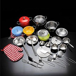 Belupai Kids Pretend Kitchen Cooking Toys 33 Pieces Cookware Play