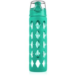 GV 20 Oz Glass Water Bottle Fruit Infuser With Silicone Sleeve - Perfect As Yoga Water Bottle For Hiking Gym Or Any Sports -