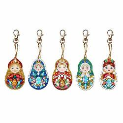 5PCS Diamond Painting Keychain Doll Full Drill Special Shaped Bag Pendant For Art Craft Perfect Gift YSK024