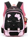 Spionee Efree Cute Cat Face Bow Diamond Bling Waterproof Pink School Backpack Girls Book Bag Medium Black