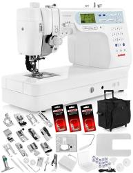 """Janome Memory Craft 6600P 6600 Sewing Machine W built-in Acufeed Feeding Sytem + Extension Table + Trolley + Acufeed 1 4"""" Seam F"""