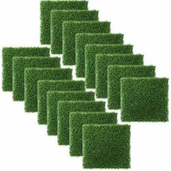 Artificial Grass Square Tiles - 12 X 12 Inch Small Turf Grass Carft Indoor Outdoor Home Halloween Christmas Decorations 16 Pack