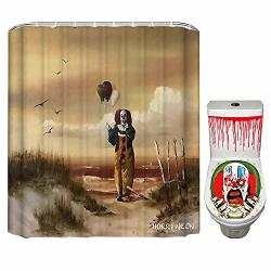 Horriween Halloween Shower Curtain For Bathroom It Scary Clown Pennywise Horror Movie Themed Decor With Hooks & Free Toilet Seat Sticker Halloween Decorations 72X84