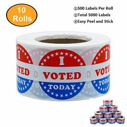 Aleplay I Voted Today With Red White And Blue Circle Stickers 38MM Round Total 500 Labels Per Roll 10 Rolls