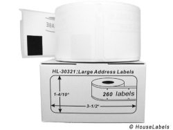 """HouseLabels 6 Rolls 260 Labels Per Roll Of Dymo-compatible 30321 Large Address Labels 1.4"""" X 3.5"""" -- Bpa Free"""