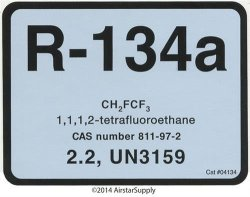 DiversiTech R-134 R134A TETRAFLUROROETHANE Refrigerant Labels 04134 Color Coded Refrigerant Id Labels