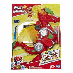 """Playskool Heroes Power Rangers Red Ranger & Dragon Thunderzord 3"""" Action Figure 14"""" Zord Lights & Sounds Collectible Toys For Kids Ages 3 & Up"""