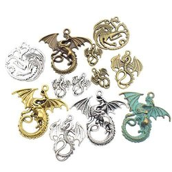 ZC-charms 20PCS Mixed Dragon Pendants Collection--antique Silver Antique Bronze Gold Tarrasque Infernal Demon Dragon Fire Dragon Dinosaur Totem Charms Pendants Jewelry Findings Making Accessory