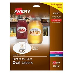 """Avery Print-to-the-edge Glossy Oval Labels True Print 2"""" X 3.3"""" Pack Of 80 Oval Labels 22820"""
