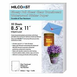 """Milcoast Glossy Full Sheet 8.5"""" X 11"""" Clear Translucent Waterproof Adhesive Sticker Paper Labels - 50 Sheets"""